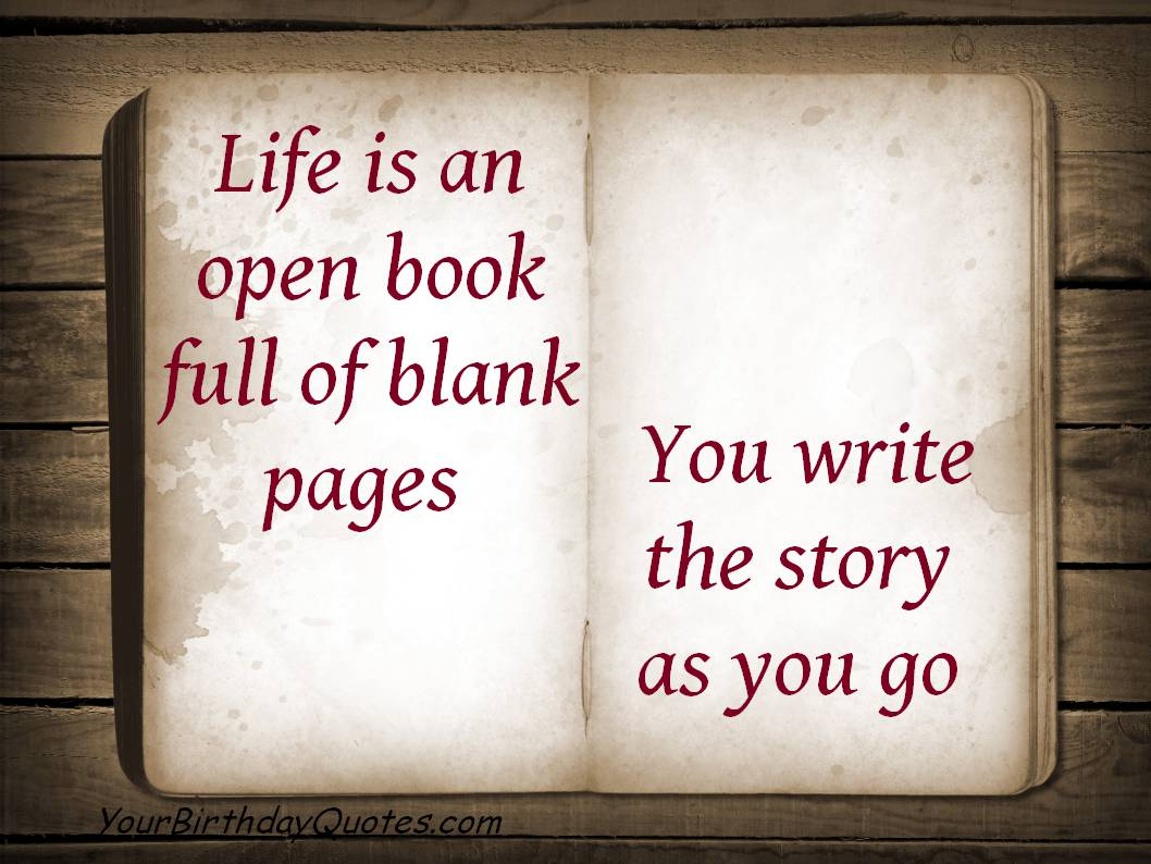 quotes about life open book blank pages story